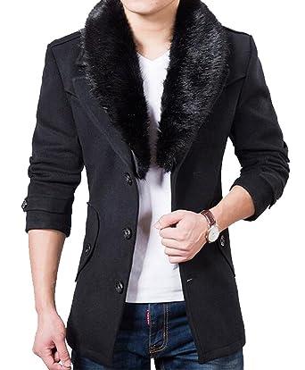 YUNY Mens Vogue Faux Fur Collar Single Breasted Slim Fit Pea Coat ...