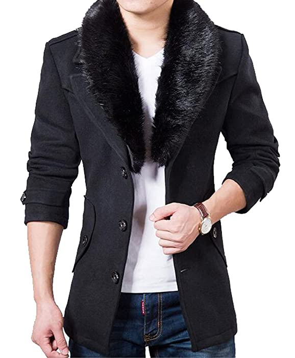 YUNY Mens Vogue Faux Fur Collar Single Breasted Slim Fit Pea Coat