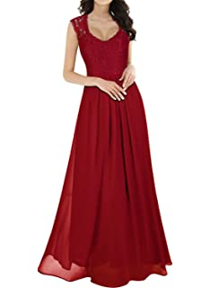 91c202af10 Miusol Women s Casual Deep- V Neck Sleeveless Vintage Wedding Maxi Dress