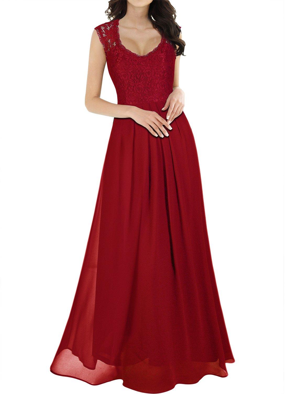 Miusol Women's Casual Deep- V Neck Sleeveless Vintage Maxi Dress (Medium, Red)