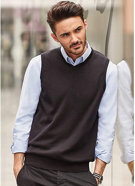 Russell Collection Jersey Sweater sin mangas cuello pico Modelo Knitted hombre caballero