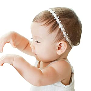 RQJ Newborn Christening Headband Baptism Halo Toddler Elastic Lace Headband Bows Flowers Pearl Baby Hair Accessories