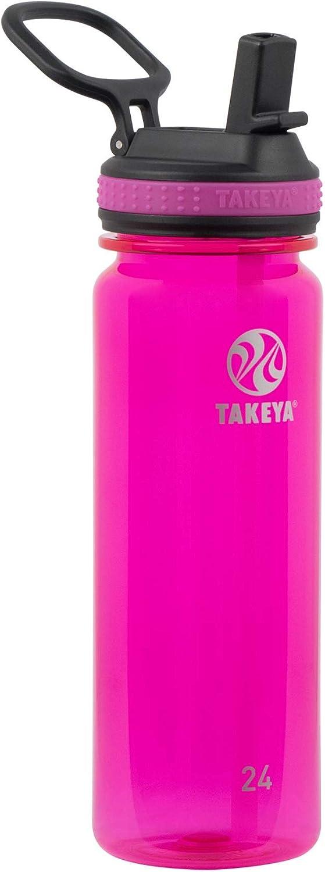 Takeya Tritan Sports Water Bottle with Straw Lid, 24 oz, Fuchsia