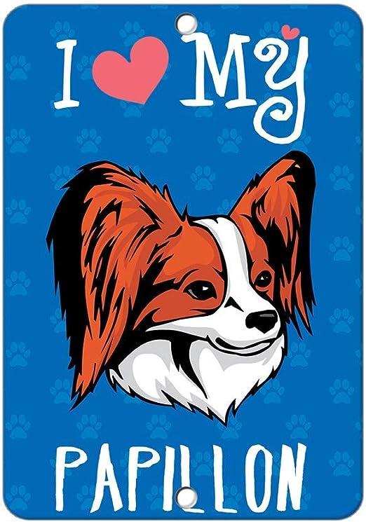 Papillon Metal Home Address Sign House Decor Dog Plaque