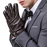 Mens Luxury Touchscreen Italian Nappa Genuine Leather Winter Warm Gloves for Texting Driving Cashmere Lining Blend Cuff (S-8.1'', Brown)