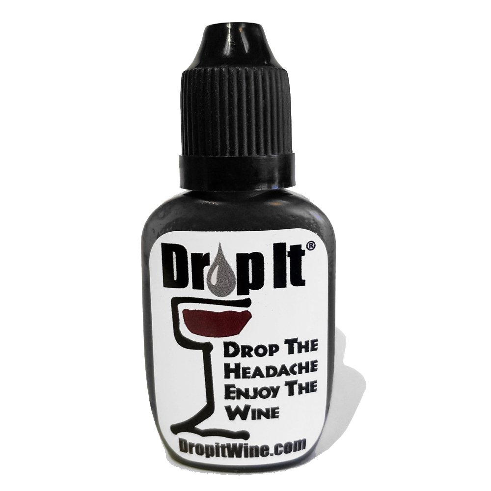 Drop It the only natural Sulfite and Tannin removal drops for wine that can treat a glass or bottle of wine. Drop the headache. Each order contains 2 bottles of Drop It for $19.98