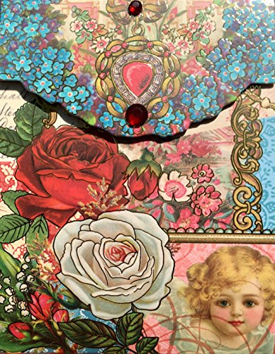 Punch Studio Gold Foil & Gem Embellished Mini Pocket Notepad ~ Roses Child Angel Victorian Cherub 93282 (Angels Notepad)