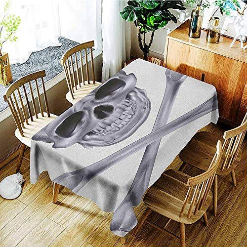 XXANS Waterproof Table Cover,Grey,Vivid Skull and Crossed Bones Dangerous Scary Dead Skeleton Evil Face Halloween Theme,Dinner Picnic Table Cloth Home Decoration,W54x72L Dimgray