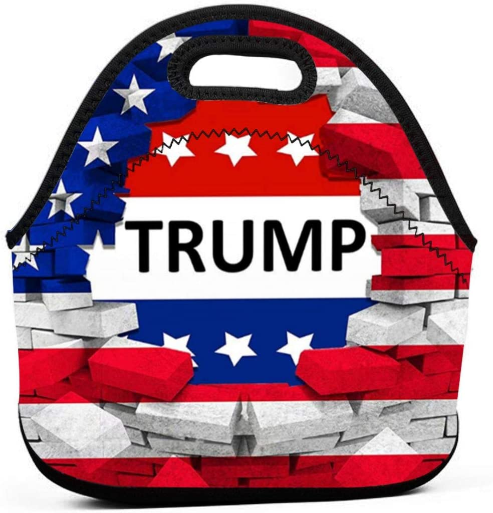 American USA Trump Flag Insulated Neoprene Lunch Bag Tote Handbag lunchbox Food Container Gourmet Tote Cooler warm Pouch For School work Office