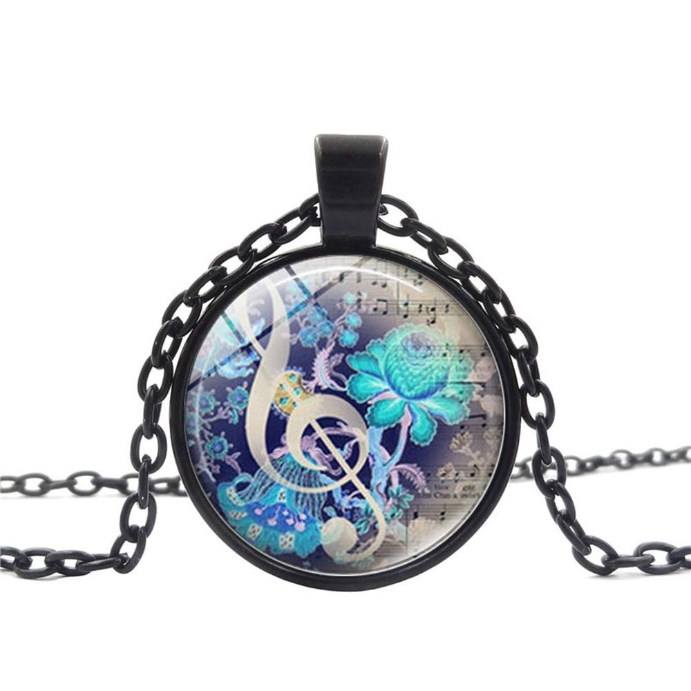Voberry- Music Notation Jewelry Necklace Good Looking Pendant Music Necklace (Black)