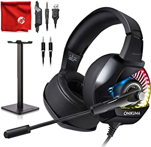 ONIKUMA K6 RGB LED Light Pro Over-Ear 7.1 Surround Sound Noise Cancelling Gaming Headset Microphone Bundle with Headphone Stand for PC, Xbox One, PS4, Nintendo Switch, Mac, Desktop, Laptop, Computer