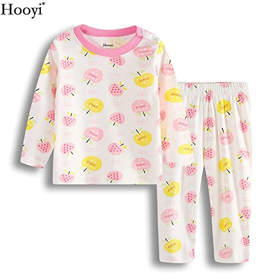 Hooyi Baby Girls Pajamas Clothes Suit Cotton Apple Sleepwear (12-18month)