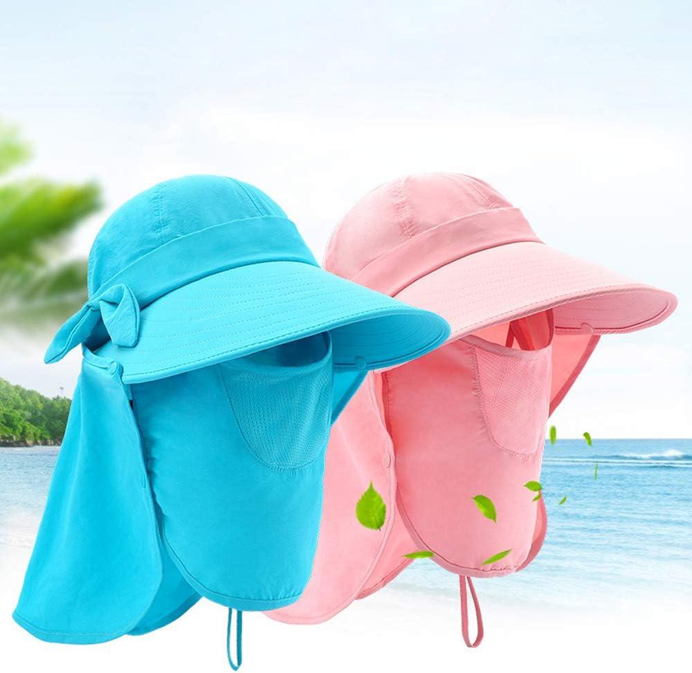 Sun cap per la Spiaggia Giardinaggio Ciclismo Arrampicata Escursionismo Lixada Cappello da Donna con Scudo Solare con Risvolto al Collo Removibile UPF 50