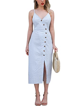 5504683d213c Blooming Jelly Womens V Neck Dress Sleeveless Spaghetti Strap Button Down  Striped Summer Casual Midi Dresses
