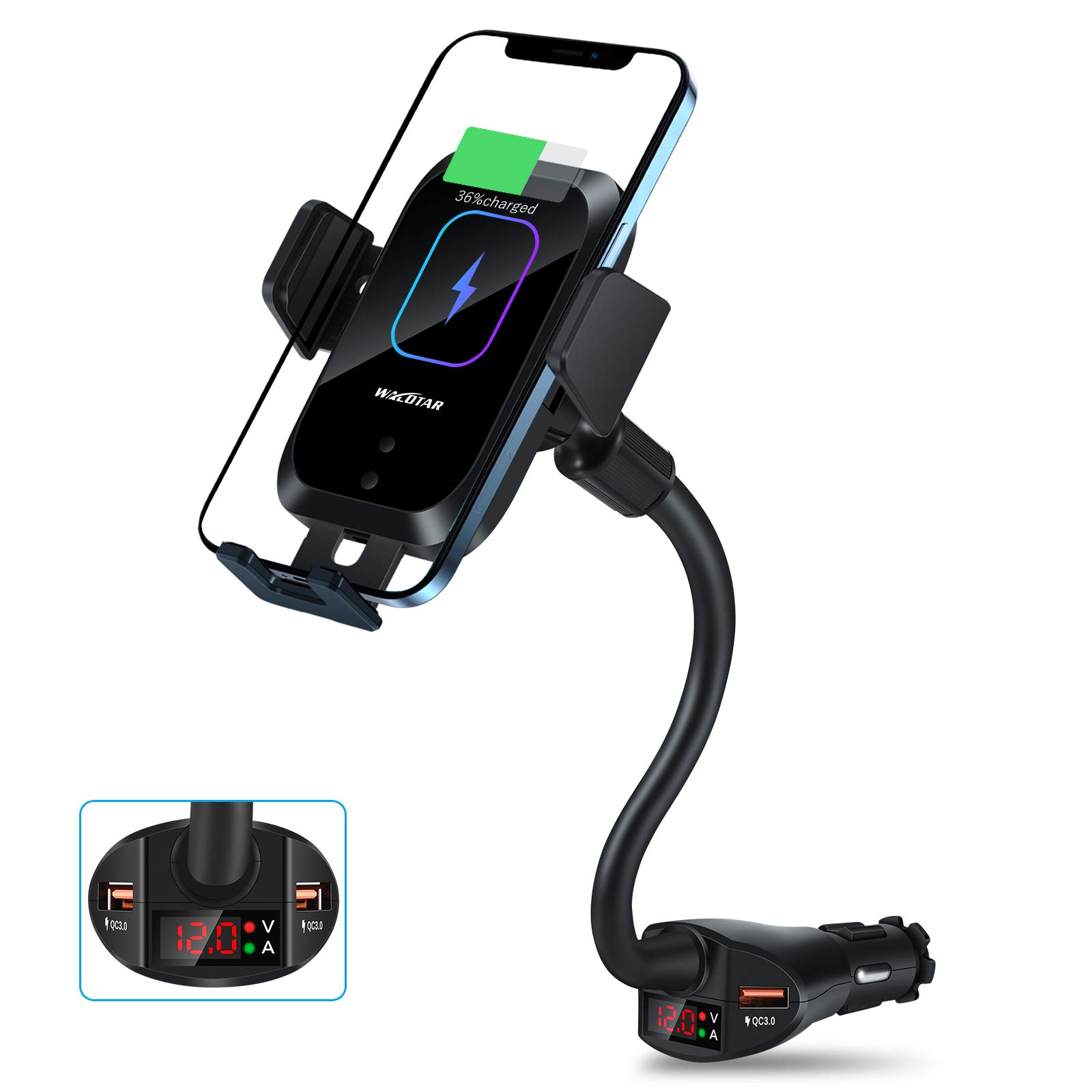 WALOTAR Car Cigarette Lighter Wireless Charger- Phone Holder Mount,Automatic Infrared Smart Sensing 15W Qi Fast Wireless Charging Cradle for Cell Phone,Dual USB, Double QC3.0 Output