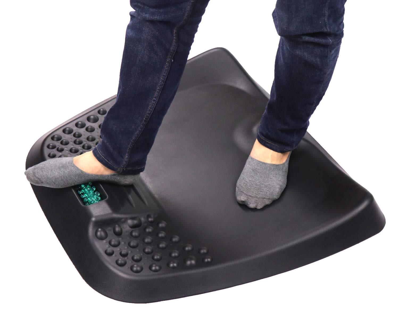 Ergonomic Standing Desk Mat Comfort Floor Mat Not- Flat Anti Fatigue Mat for Office and Workstation (26''x29''x3'', black with massage roller)