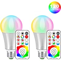 iLC LED Ampoules de couleur Edison Changement de Couleur Ampoule RGB+Blanc Dimmable - 120 Choix de Couleur - 10Watt E27 Types RGBW LED Ampoules - 2 Modes Dynamiques - Télécommande Compris (Lot de 2)