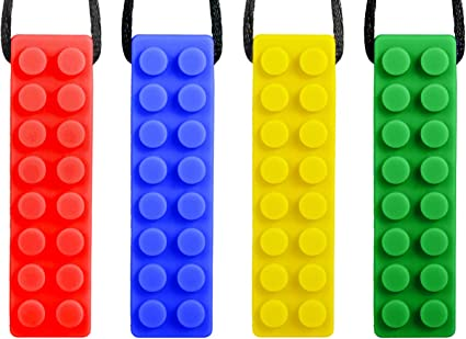 ADHD Silicone Chewy Autistic Biting, Chewable Necklace Set 4 Packs Early
