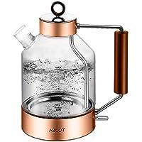 ASCOT Electric Kettle Glass, Electric Tea Kettle 1.6L, 1500W, Stainless Steel Tea Heater & Hot Water Boiler…
