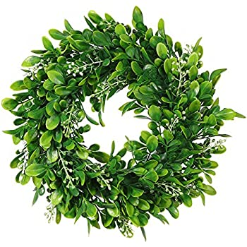 amazon com adeeing round wreath artificial wreath green leaves for