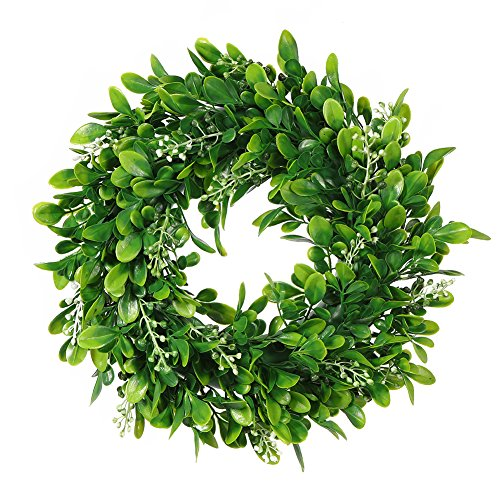 Adeeing Round Wreath Artificial Wreath Green Leaves for Door Wall Window Decoration - Wedding Party Christmas Décor - 11 Inches