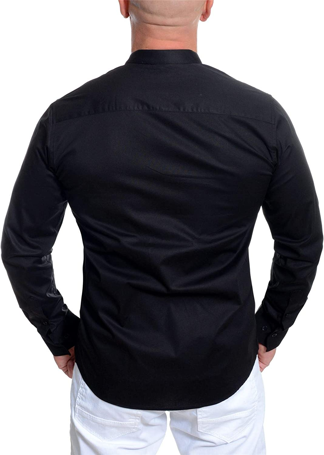 D/&R Fashion Mens Low Grandad Collar Slim Fit Roll Up Sleeves Shirt