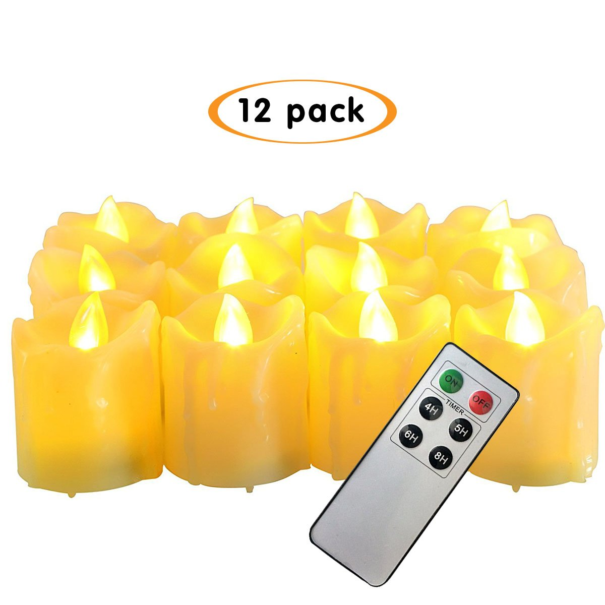 CANDLE CHOICE Battery-Operated Remote Control Candles and Timer,1.5''x2'' LED Votives Realistic Flickering Flameless Candles with Drips(12 Pack)