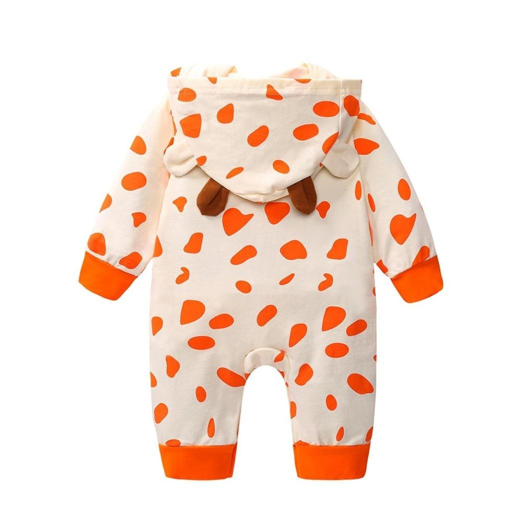 Baby Boys Girls Cow Print Jumpsuit Hooded Outfits Clothes squarex Baby Romper
