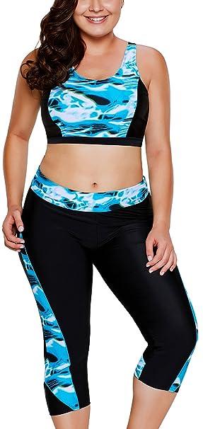 8e21290da7cd0 Lu lu Women s Tankini Aquatic Print Accent Crop Top and Capris Swimsuit  Sexy Plus Size Swimwear at Amazon Women s Clothing store