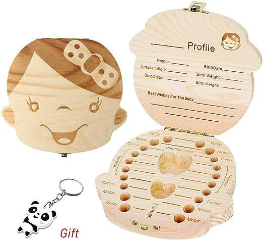 Pengxiaomei Caja de almacenamiento de dientes de bebé, caja de almacenamiento de dientes de leche, caja de madera para guardar los dientes, caja de recuerdos para bebés y niños: Amazon.es: Hogar