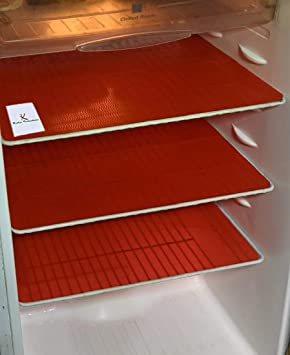 Kuber Industries PVC 6 Piece Refrigerator Drawer Mat Set - Red Place Mats at amazon