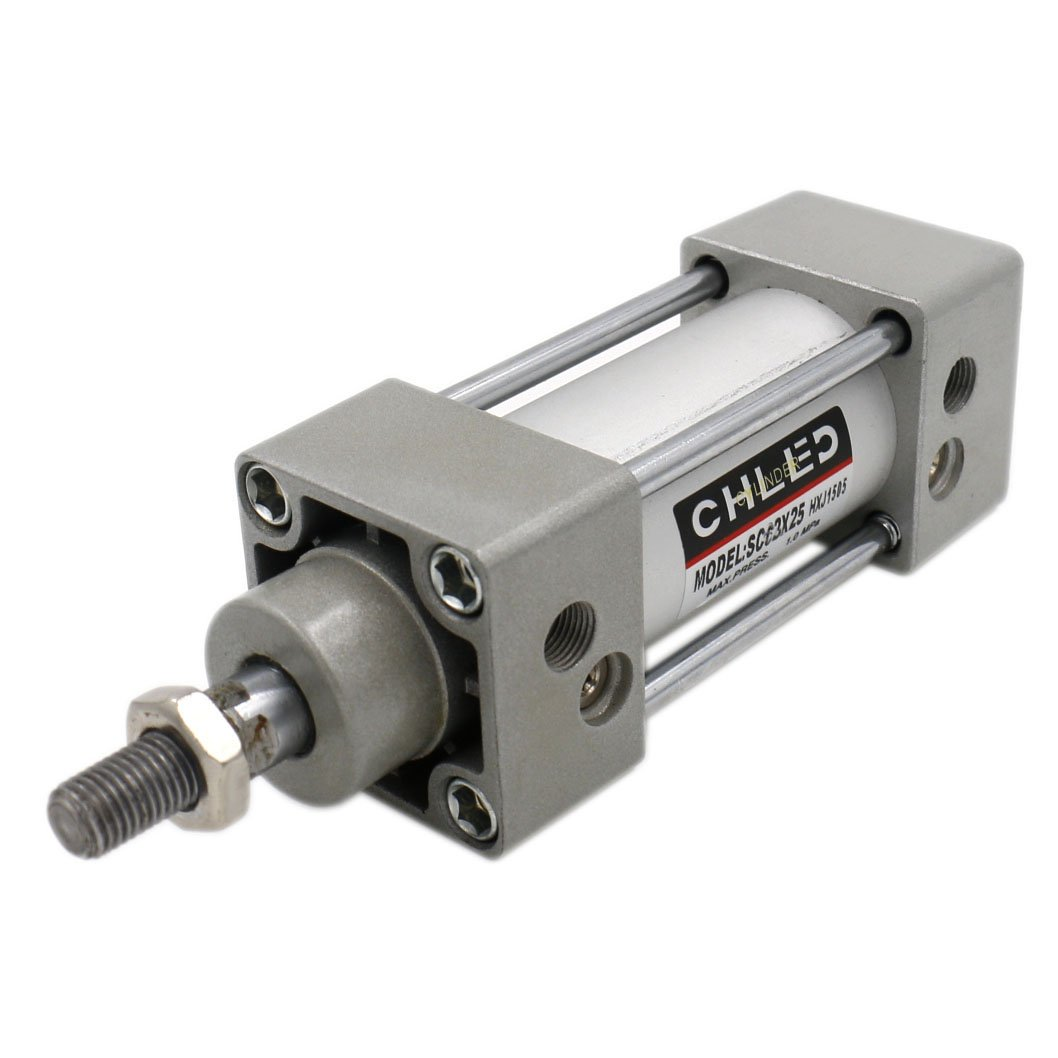 Baomain Pneumatic Air Cylinder SC 63 X 25 PT3/8, Bore: 2 1/2 inch, Stroke: 1 inch, Screwed Piston Rod Dual Action
