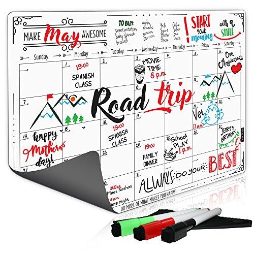 Refrigerator Calendar Dry Erase Magnetic Board, Monthly Planner 2017, Bonus 3 Markers & Eraser, 16x12 Inches (Flip Chart Calendar)