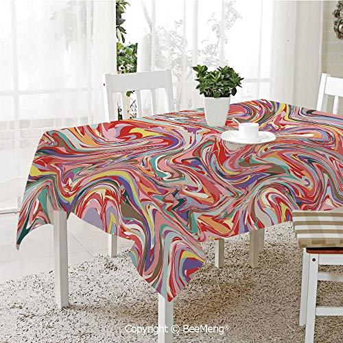 BeeMeng Spring and Easter Dinner Tablecloth,Kitchen Table Decoration,Abstract,Mix of Colors Messy Dirty Look Flow Splash Splatter Artistic Grunge Retro Graphic Decorative,Multicolor,59 x 83 ()