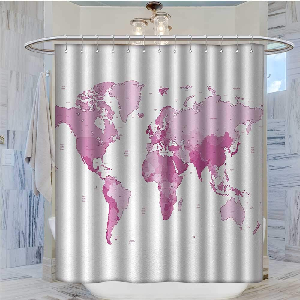 Light Pink Shower Curtains Mildew Resistant Cute World Map Continents Island Land Pacific Atlas Europe America Africa Satin Fabric Bathroom Washable W36 X