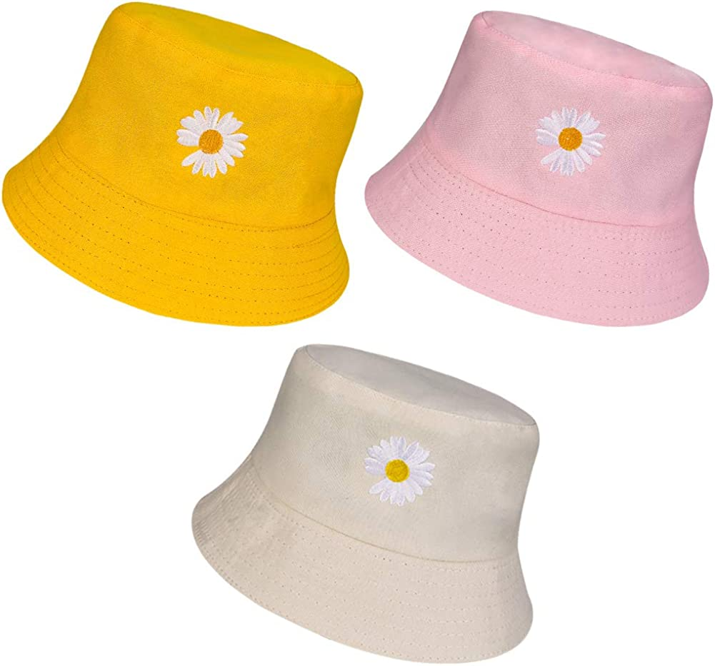 adakel 3 Pieces Flower Embroidery Bucket Hat/ Fisherman Cap Beach Hat Summer Sun Visor/ Hat for Women Girls