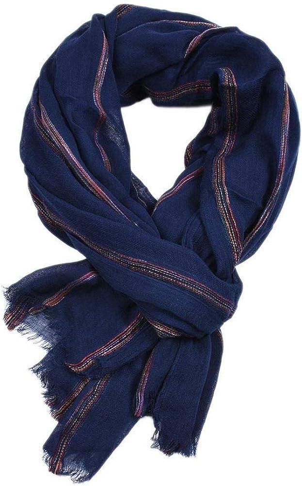 Doitsa 1 pcs Herren Simple Crinkle Schal Baumwolle und Leinen Stripes Print Schal mit Fransen 95 190cm
