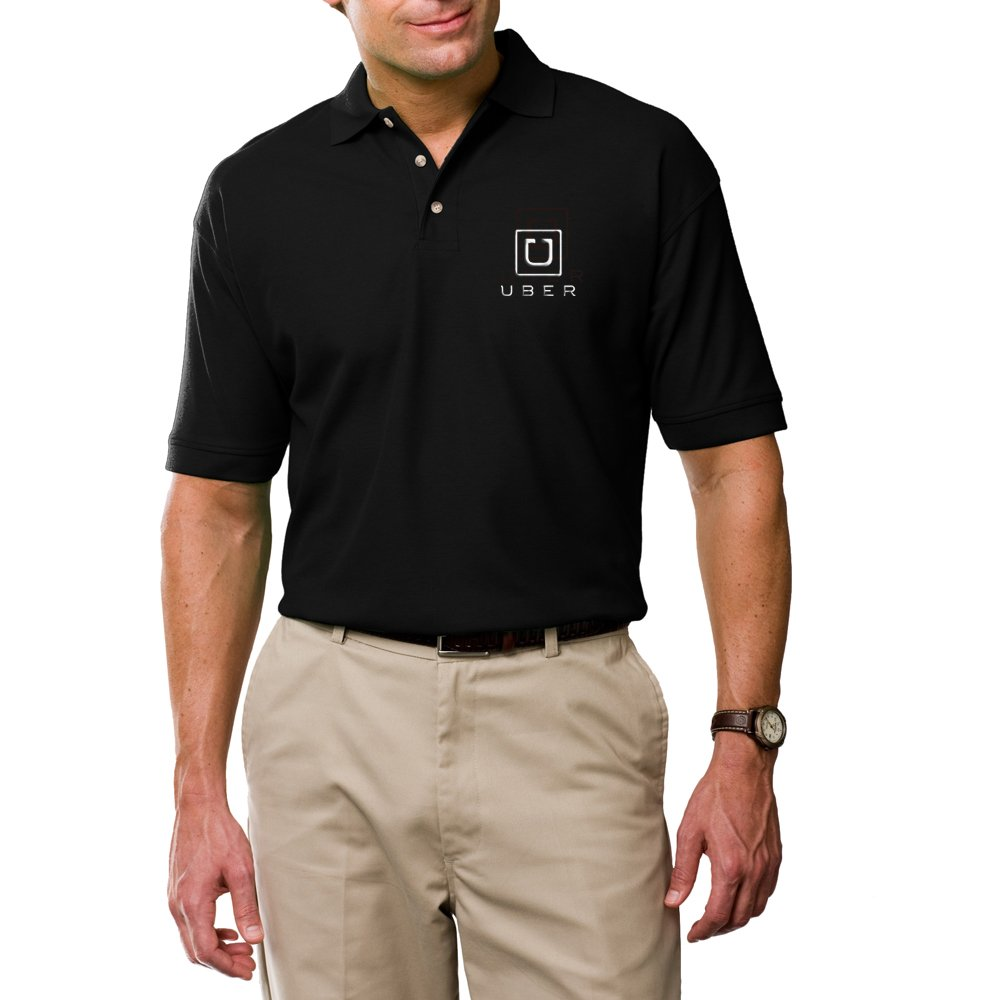 Embroidery Uber logo Polo Shirt, Custom Professional Uber Driver Clothing, Black Polo Shirt