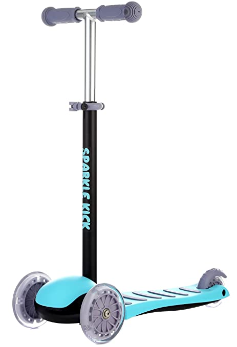 BEKILOLE Sparkle Kick Scooter - Patinete con 3 Ruedas para niños (Ruedas con luz LED
