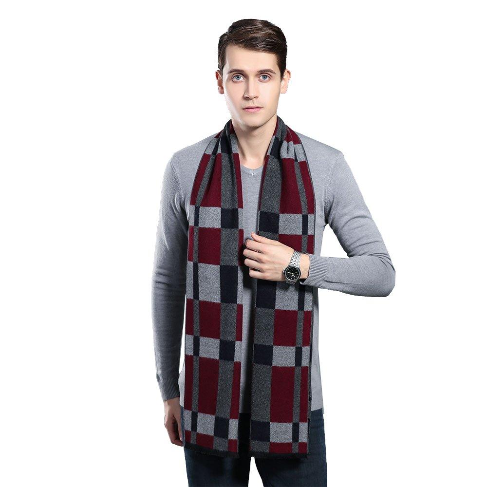 Mens Winter Cashmere Scarf - Ohayomi Fashion Formal Soft Scarves for Men(Black/Grey)