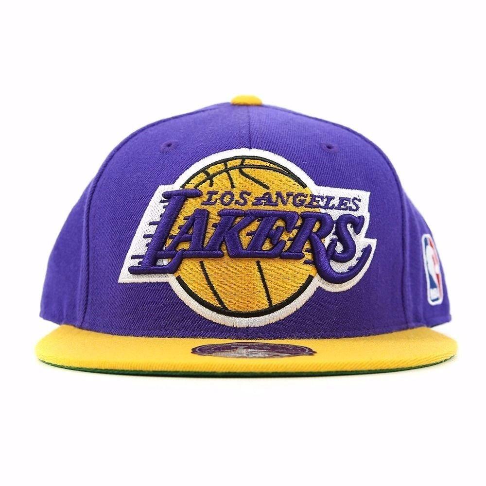 Mitchell & Ness NBAロサンゼルスレイカーズヴィンテージロゴ2トーンFitted Hat – パープル/ゴールド 7  B009I2BP8M