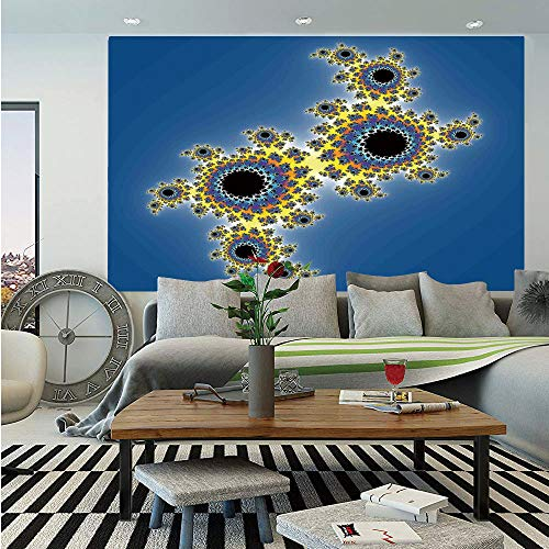 Fractal Removable Wall Mural Floral Spiral Unusual Modern Pattern With Rotary Lined Artistic Display Self Adhesive Large Wallpaper For Home Decor
