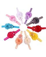 Kfnire 10pcs Baby Girls Hair Hairband Pearl Crystal Rhinestone Flower Bow Lace Band Elastic