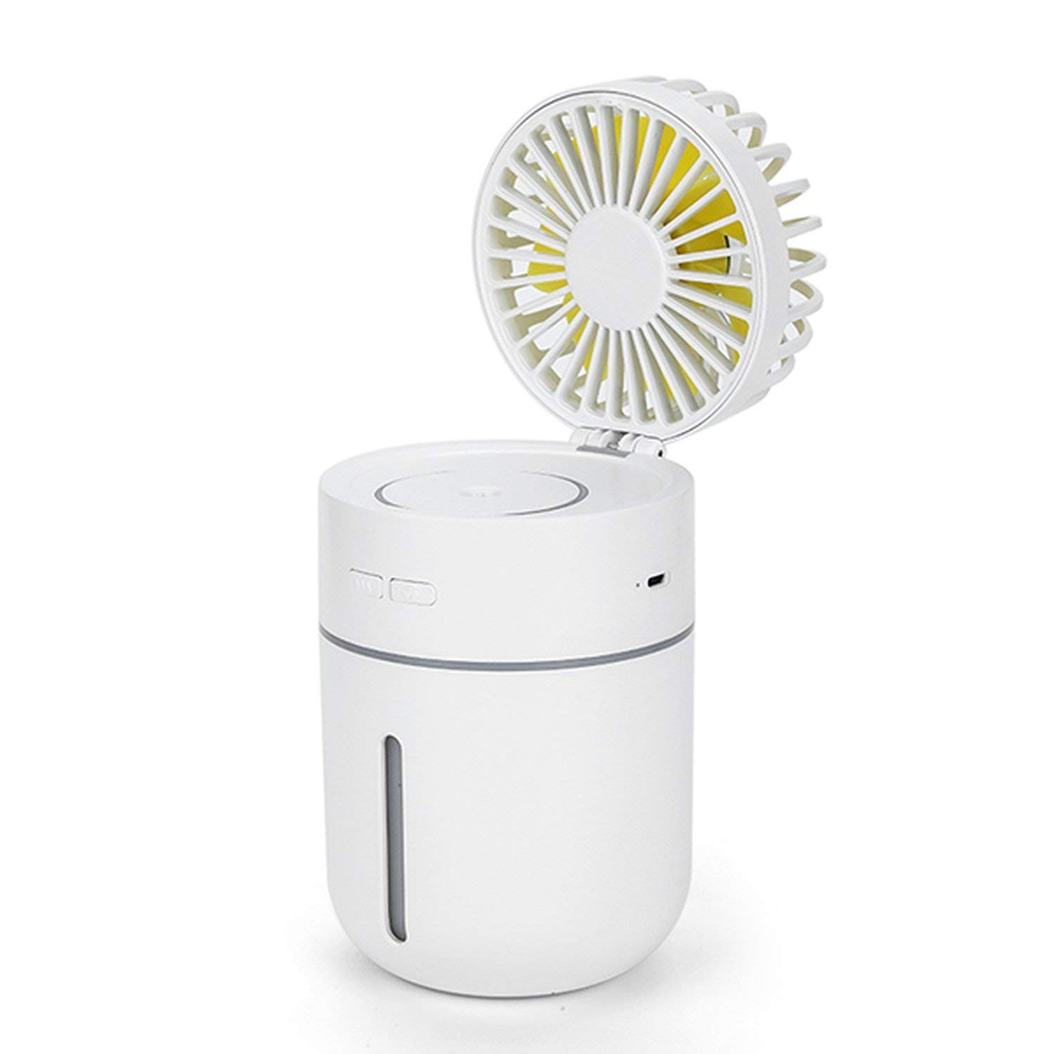 Saengq Battery Fan with Humidifier 400Ml USB Aroma Essential Oil Diffuser 7 Color Night Light Portable Table Fan,White