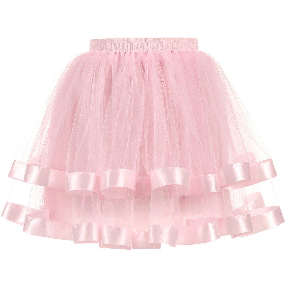 NUWFOR Women's Short Petticoat Elastic Waistband Tutu Tulle Mini Skirt?Pink?One Size?