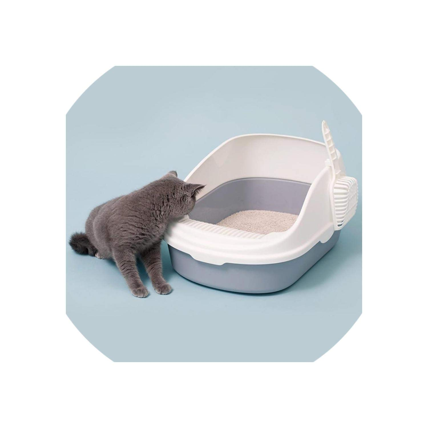 Portable Cat Litter Bowl Toilet Bedpans Large Middle Size Cat Excrement Training Sand Litter Box with Scoop for Pets Kitty,Crystal Cream,Average Code by HEARTLIFE Cat Litter Box