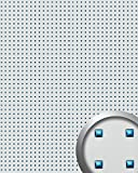 WallFace 10050 3D QUAD Wall panel square hole punched deco metal look wallcovering self-adhesive silver blue   2,60 sqm