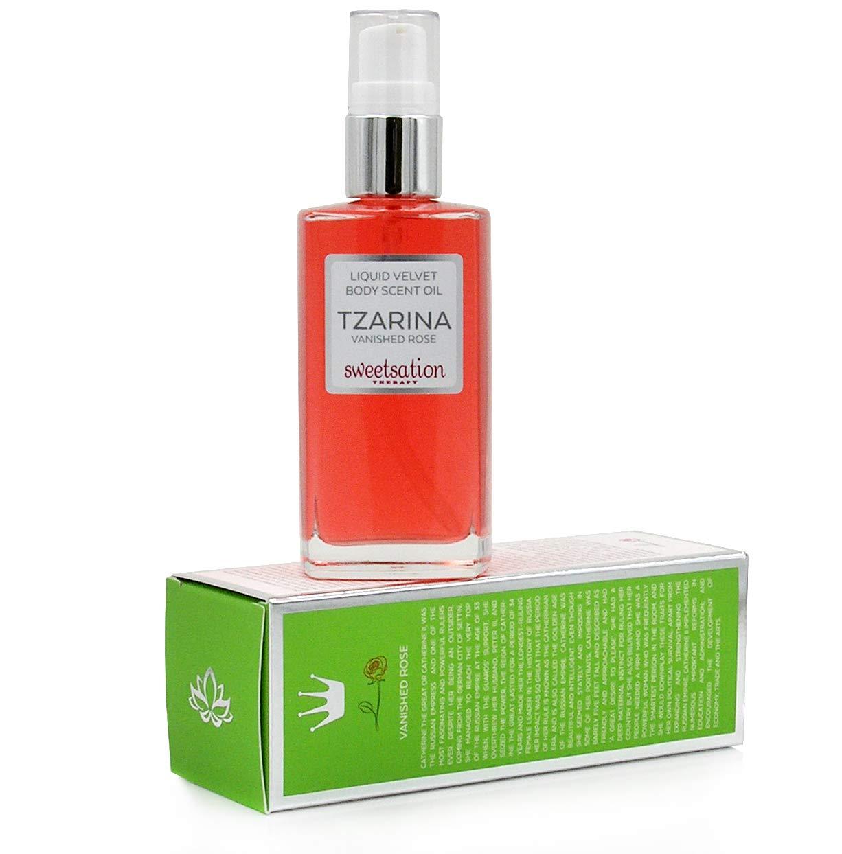 TZARINA Liquid Velvet Body Scent Oil, Vanished Rose, 3.3oz. 100 Natural 46 Organic.