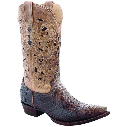 91cc64d9459 Amazon.com | Corral Mens Brown Beige Python Laser Top Boots | Western