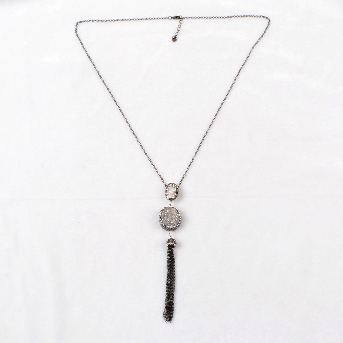JAB Round Natural Agate Titanium AB Druzy /& Natural Pearl Tassel Necklace Paved Zircon Black Chain